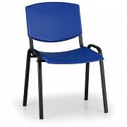Konferenční plastová židle, modrá Biedrax Z8982M, podnož černá