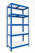kovový regál Biedrax, bílé police 35 x 60 x 180 cm - modrý, 175 kg na polici