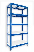 kovový regál Biedrax 35 x 60 x 180 cm - 5 polic lamino x 175 kg, modrý