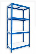 kovový regál Biedrax 35 x 60 x 180 cm - 4 police lamino x 175 kg, modrý