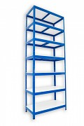 kovový regál Biedrax 60 x 75 x 270 cm - 7 polic lamino x 175 kg, modrý