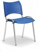Konferenční plastová židle, modrá Biedrax Z9130M, podnož chromovaná