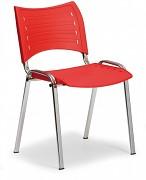 Konferenční plastová židle, červená Biedrax Z9130CV, podnož chromovaná