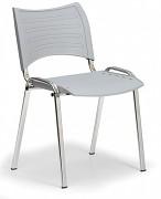 Konferenční plastová židle, šedá Biedrax Z9130S, podnož chromovaná