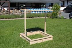 pískoviště dřevěné s lavičkami a stříškou BIEDRAX 115 x 115 x 140 cm