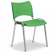 Konferenční plastová židle, zelená Biedrax Z9130Z, podnož chromovaná