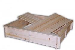 pískoviště dřevěné s lavičkami a krytem BIEDRAX 115 x 140 x 30 cm