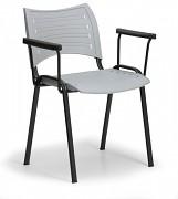 Konferenční plastová židle, šedá Biedrax Z9123S, podnož černá