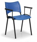 Konferenční plastová židle, modrá Biedrax Z9123M, podnož černá