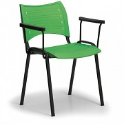 Konferenční plastová židle, zelená Biedrax Z9123Z, podnož černá