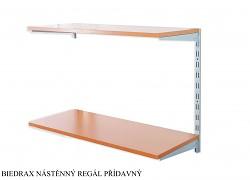 Nástěnný regál přídavný 20 x 40 x 50 cm, 2 police - barva stříbrná, police třešeň