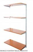 Nástěnný regál přídavný 20 x 40 x 150 cm, 4 police - barva stříbrná, police třešeň