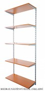 Nástěnný regál základní 25 x 60 x 200 cm, 5 polic - barva stříbrná, police třešeň
