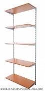 Nástěnný regál základní 30 x 60 x 200 cm, 5 polic - barva stříbrná, police třešeň