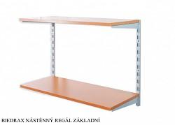 Nástěnný regál základní 35 x 60 x 50 cm, 2 police - barva stříbrná, police třešeň