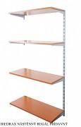 Nástěnný regál přídavný 35 x 40 x 150 cm, 4 police - barva stříbrná, police třešeň