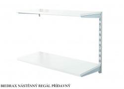 Nástěnný regál přídavný 20 x 40 x 50 cm, 2 police - barva stříbrná, police šedá