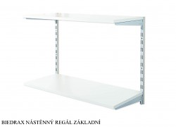 Nástěnný regál základní 20 x 40 x 50 cm, 2 police - barva stříbrná, police šedá
