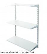 Nástěnný regál základní 20 x 40 x 100 cm, 3 police - barva stříbrná, police šedá