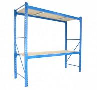 Profesionální Regál BIEDRAX základní 60 x 100 x 350 cm, 2 police - nosnost 350 kg/police, modrý