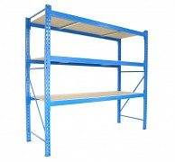 Profesionální Regál BIEDRAX základní 100 x 100 x 400 cm, 3 police - nosnost 350 kg/police, modrý