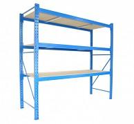 Profesionální Regál BIEDRAX základní 120 x 200 x 300 cm, 3 police - nosnost 350 kg/police, modrý
