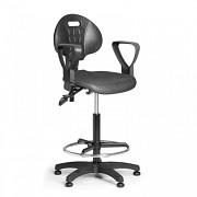 Pracovní židle PUR Biedrax Z9822 - s kluzáky, opěrným kruhem a područkami